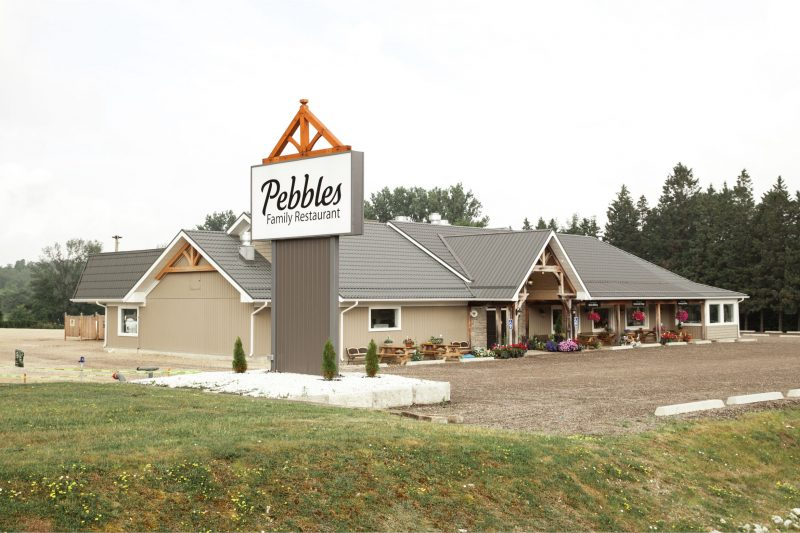 Pebbles Family Buffet Exterior with new sign