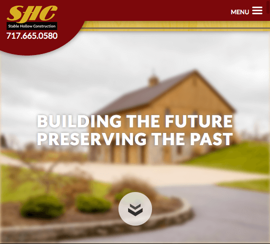 home page on stablehollowconstruction.com